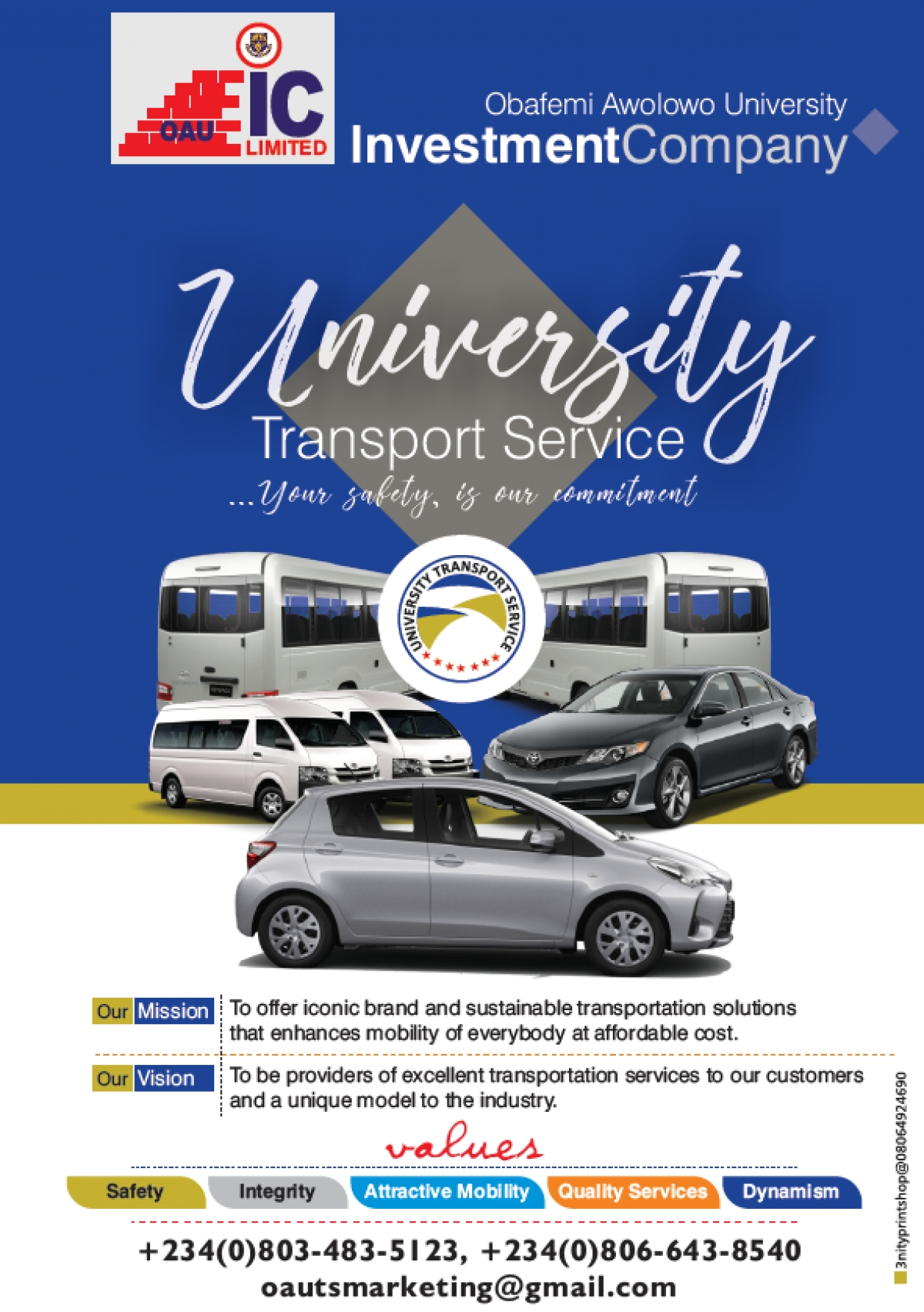 OAU Investment Company offers a Committed and Safe Transport Service