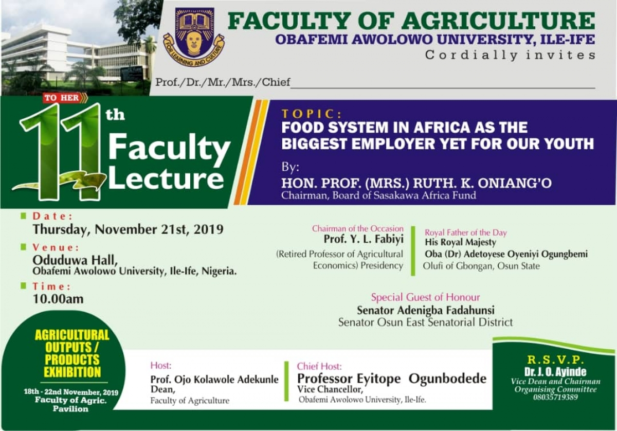 11th Faculty Lecture | Food System in Africa as the Biggest Employer yet for our Youth