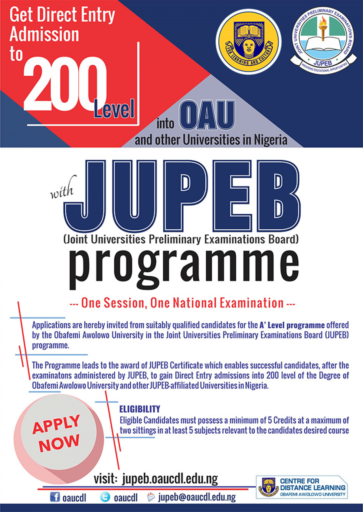 Admission into JUPEB Programme 2019/2020 Academic Session
