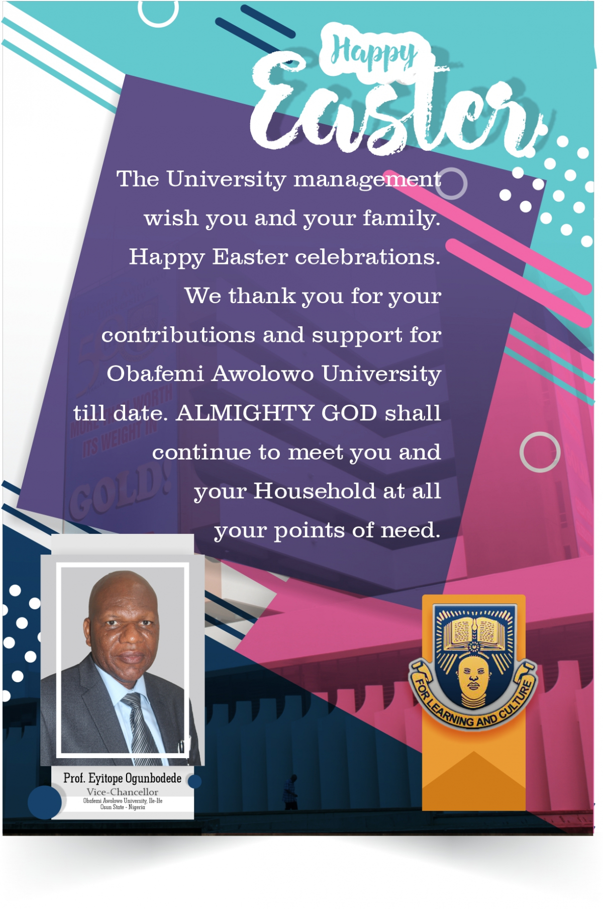 Vice-Chancellor's Easter Message