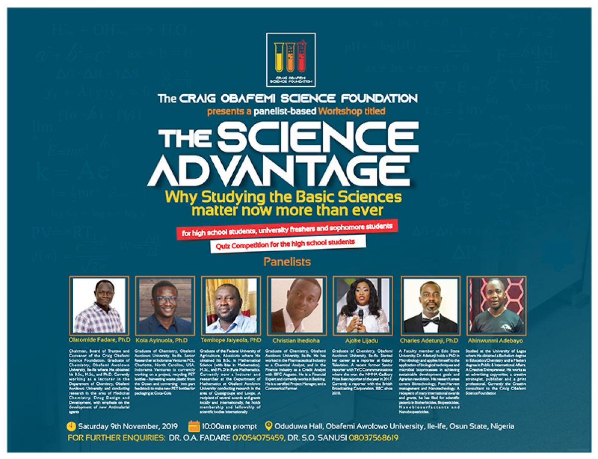 The Craig Obafemi Science Foundation Presents a Workshop: The Science Advantage