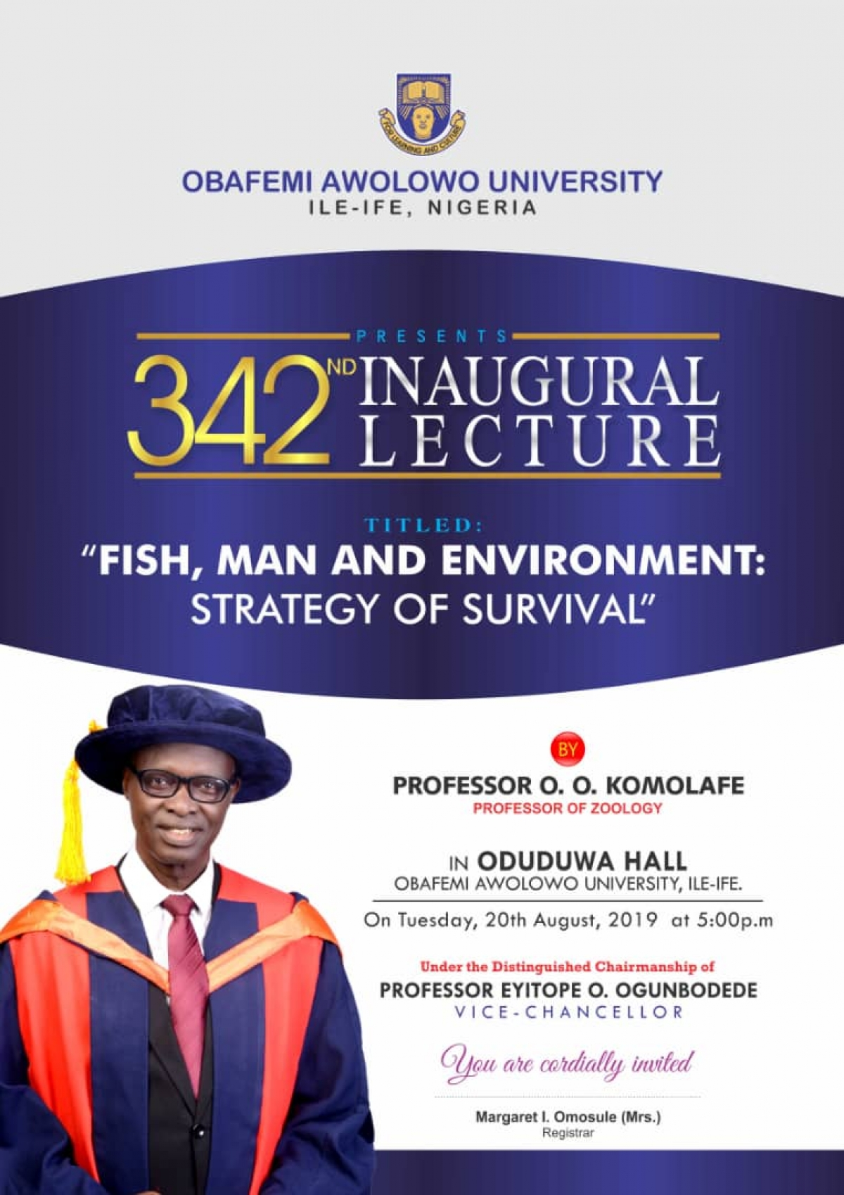 342nd Inaugural Lecture: Fish, Man and Environment: Strategy of Survival