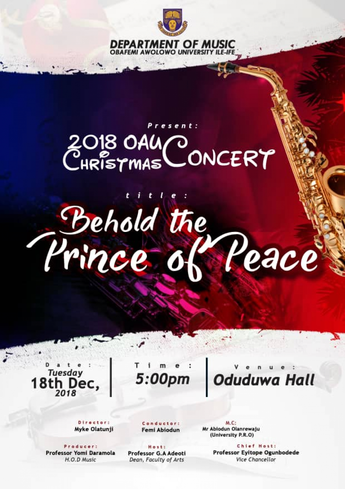 Department of Music Holds 2018 OAU Christmas Concert