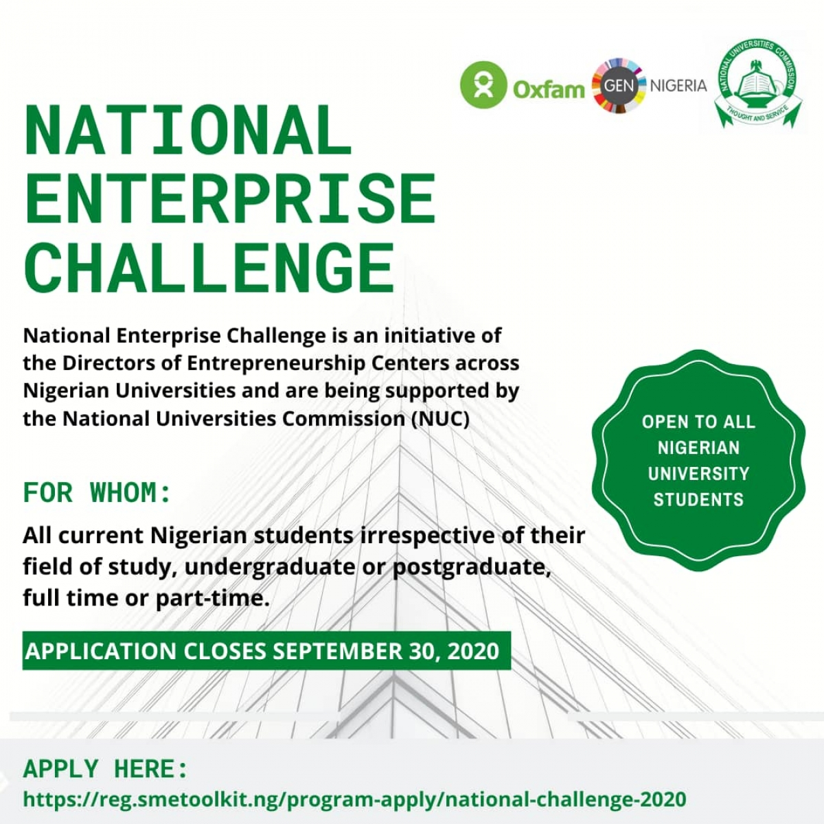 Application Opens for the National Enterprise Challenge
